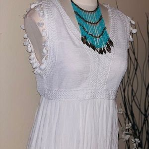 Cotton White Forever21 fringe maxi